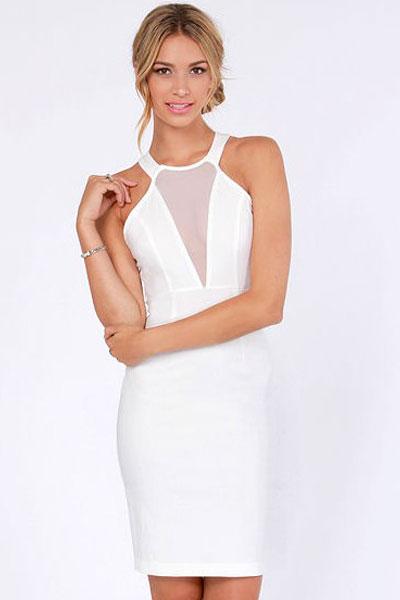 7e6ce155b71 Elegantní dámské šaty - bílé S M - budtesexy.cz
